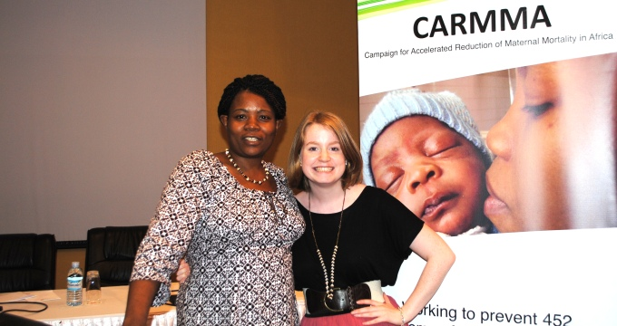 Emma Mulhern (r) with her UNFPA supervisor Phylis Munyama (l) during her time as an Irish Aid sponsored UN Youth Volunteer with the UNFPA in Zimbabwe.