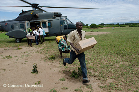 Irish Aid supplies are delivered by Concern Universal to those affected by severe flooding in Malawi.