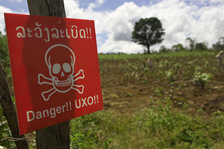 UXO warning sign in Xiengkhouang Privince. Photo: UNDP Lao PDR/Joseph Wenkoff