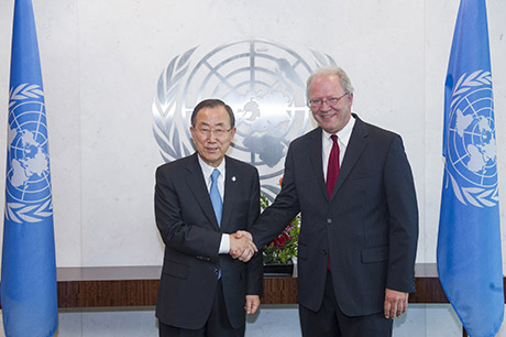Ireland's Permanent Representative to the United Nations, David Donoghue, with United Nations Secretary General, Ban Ki-Moon