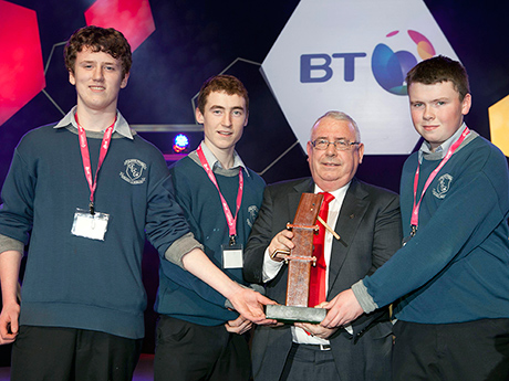 "Minister Joe Costello presents award to Fergus Jayes, Darragh O Donovan, Ciaran Crowley from Clonakilty Community College, County Cork for their project  ""The design and development of an improved solar fridge"" Copyright Fennell Photography 2013"