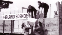 Women offload aid which has been donated from Ireland, in Germany, 1947. Source: National Archives.