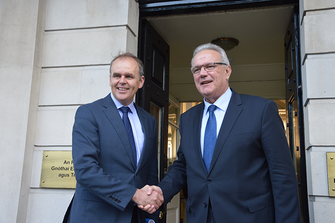 (L-R) Minister of State for Diaspora and International Development Joe McHugh T.D. and the EU Commissioner for International Cooperation and Development Neven Mimica. Oct 18th 2016 Photo courtesy of Irish Aid