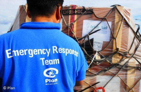 NGO partners Plan deliver Irish Aid emergency stock which arrived to Davao Airport, Mindanao after Typhoon Bhopa, December 2012. Photo: Plan Ireland