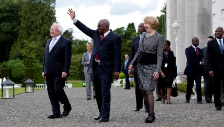President Guebuza of Mozambique with President and Mrs. Higgins at Aras an Uachtarain. Photo DFAT