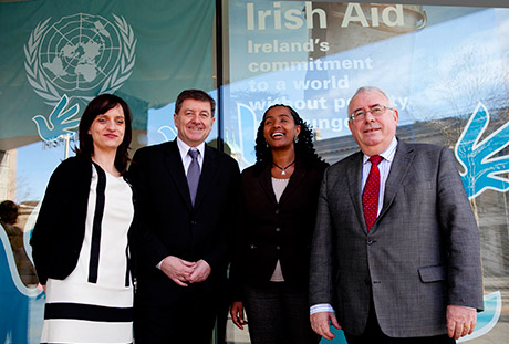 Pictured is, chair of the forum, Newstalk's Orla Barry, Guy Ryder Director General International Labour Organisation , Yetnebersh Nigusie, Director of the Ethiopian Centre from Disability and Development and Minister for Trade and Development Joe Costello, who took part in the panel discussion