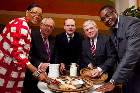 Tánaiste Minister Joe Costello with H.E. Ms Catherine Muigai Mwangi, Ambassador of Kenya, Minister of Agriculture Simon Coveney, and H.E. Peter Kallaghe, Ambassador of Tanzania