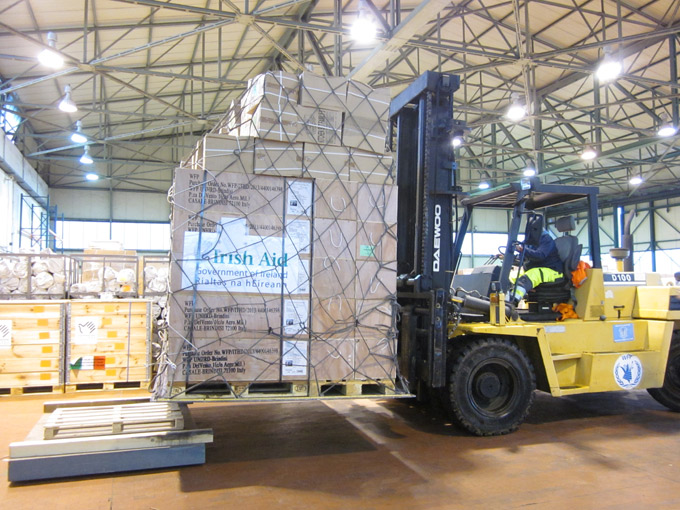 Irish Aid emergency supplies for dispatch at UNHRD Brindisi hub, Italy. Photo: UNHRD