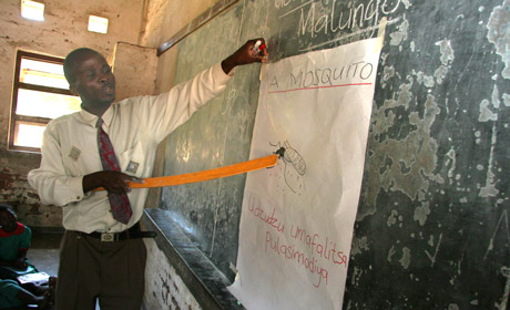 In Malawi, a teacher explains to school children about mosquitoes and malaria (Photo © WHO/S.Hollyman)