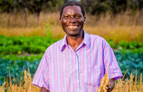 A rice farmer stands in front of his fields in Kabwe