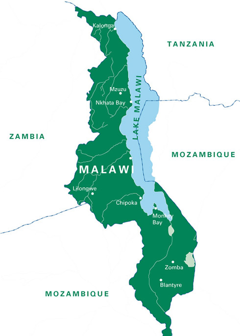 A large map of Malawi
