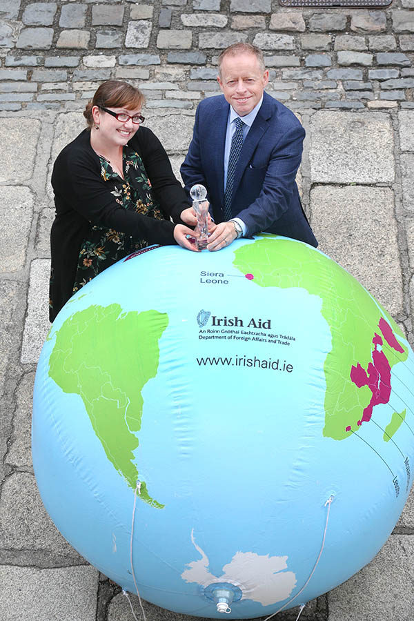 Minister of State Ciaran Cannon with Cecelia Gavigan